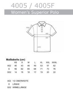Größentabelle Frauen Polo